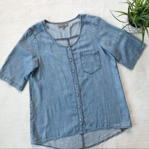 Michael Stars Button Down Denim Chambray Top